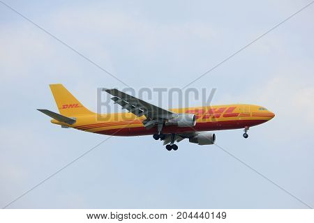 Amsterdam the Netherlands - July 20th 2017: D-AEAE EAT DHL Leipzig Airbus A300 approaching Schiphol Amsterdam Airport Polderbaan runway