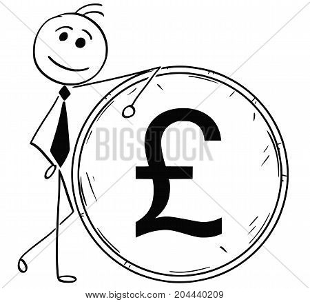 Cartoon Illustration Of Smiling Business Man Leaning On Large Pound Coin
