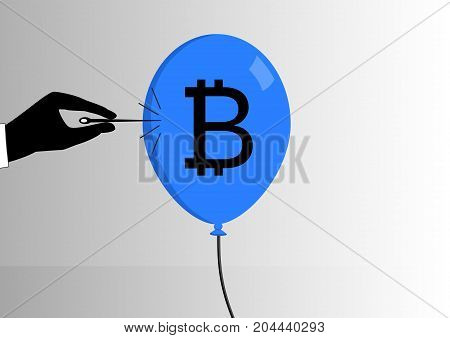 Concept of bitcoin bubble burst or decline of the bitcoin currency. Hand with needle pinching a balloon with bitcoin symbol as vector illustration