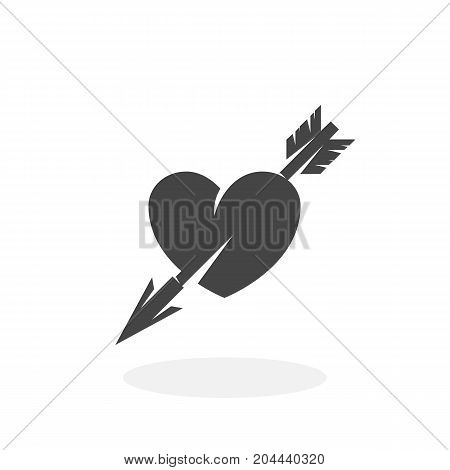 Heart with arrow icon isolated on white background. Heart with arrow vector logo. Flat design style. Modern vector pictogram for web graphics - stock vector