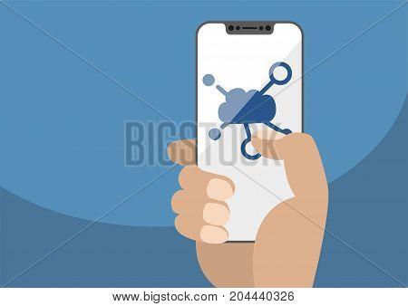 Cloud computing symbol displayed on frameless touchscreen. Hand holding modern bezel free smartphone isolated on blue background. Illustration using flat design.