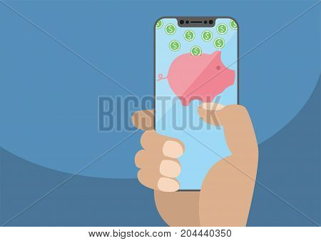Hand holding modern bezel free smartphone. Piggy bank symbol and dollar coins displayed on frameless touchscreen. Concept for digital wallet and online payment or banking