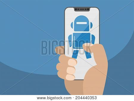 Hand holding modern bezel free smartphone. Robot icon displayed on touchscreen as concept for automation or digitalization in a mobile world. Illustration using flat design.