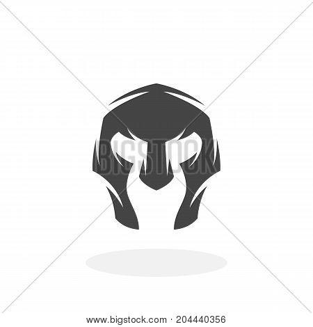 Gladiator helmet icon isolated on white background. Gladiator helmet vector logo. Flat design style. Modern vector pictogram for web graphics - stock vector
