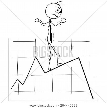 Cartoon Illustration Of Business Man Walking Carefully On Graph