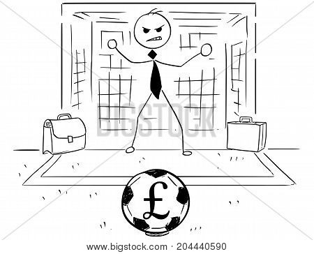 Cartoon Illustration Of Businessman As Soccer Football Goal Keeper Catching Pound Ball