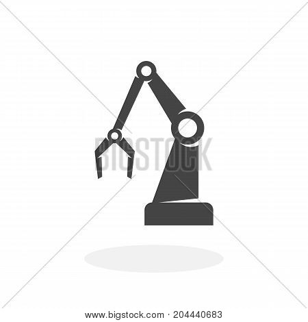 Industrial robot icon isolated on white background. Industrial robot vector logo. Flat design style. Modern vector pictogram for web graphics - stock vector