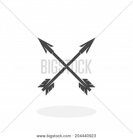 Crossed arrows icon isolated on white background. Crossed arrows vector logo. Flat design style. Modern vector pictogram for web graphics - stock vector
