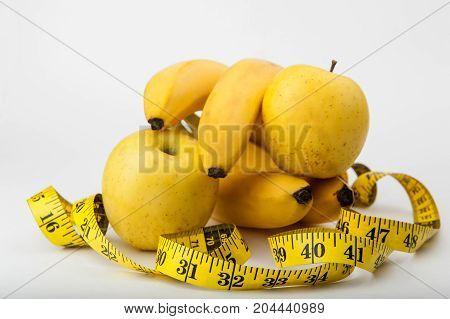 diet, fitness, sports nutrition, banana, apple, centimeter