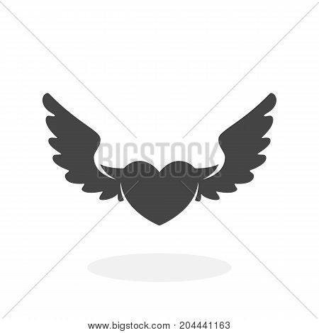 Heart with wings icon isolated on white background. Heart with wings vector logo. Flat design style. Modern vector pictogram for web graphics - stock vector