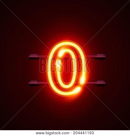 Neon city font sign number 0, signboard zero. Vector illustration