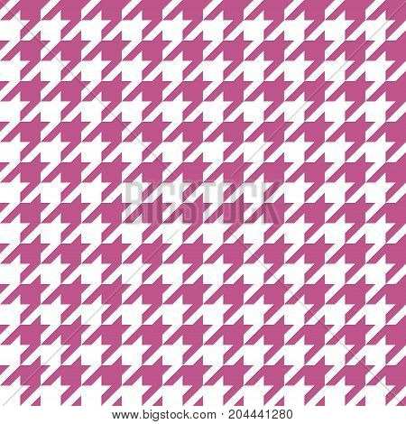 Seamless magenta houndstooth pattern background. Vector image.