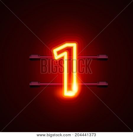 Neon city font sign number 1, signboard one. Vector illustration