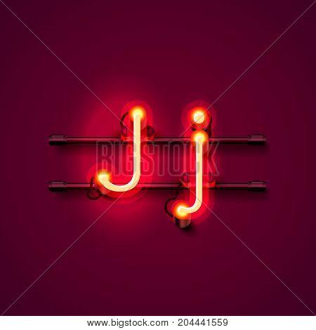Neon font letter j, art design singboard. Vector illustration