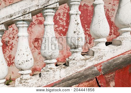 Fragment Of The Porch Of The Old House. Vintage Background.