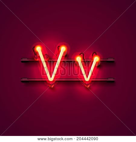 Neon font letter v, art design singboard. Vector illustration