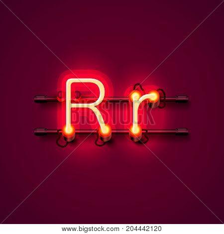 Neon font letter r, art design singboard. Vector illustration