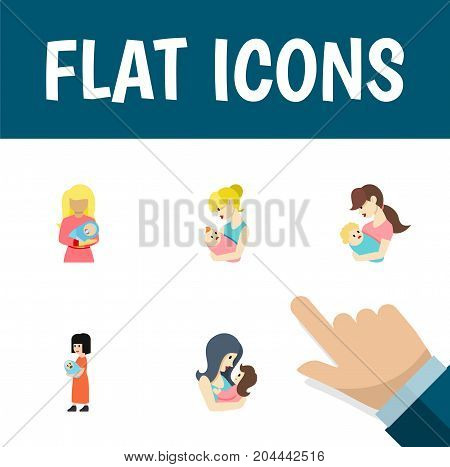 Flat Icon Mam Set Of Child, Kid, Newborn Baby And Other Vector Objects