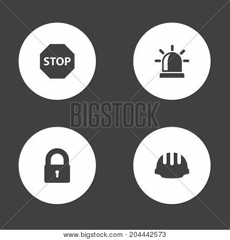 Collection Of Sign, Padlock, Alarm And Other Elements.  Set Of 4 Safety Icons Set.