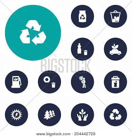 Collection Of Reforestation, Protection, Ecological And Other Elements.  Set Of 12 Ecology Icons Set.