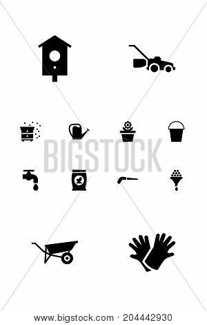 Collection Of Beehive, Flowerpot, Watering Can And Other Elements.  Set Of 12 Farm Icons Set.