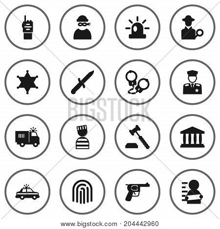 Collection Of Suspicious, Revolver, Policeman And Other Elements.  Set Of 16 Crime Icons Set.