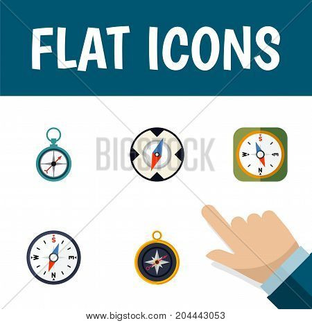 Flat Icon Compass Set Of Instrument, Divider, Magnet Navigator And Other Vector Objects