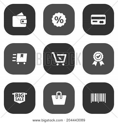 Collection Of Billfold, Identification Code, Payment And Other Elements.  Set Of 9 Shopping Icons Set.