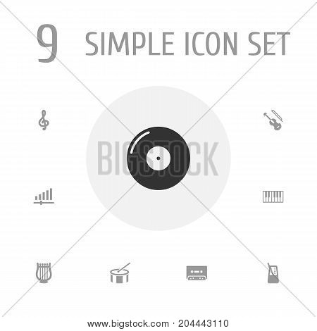 Collection Of Knob, Lyre, Octave Keyboard And Other Elements.  Set Of 9 Melody Icons Set.