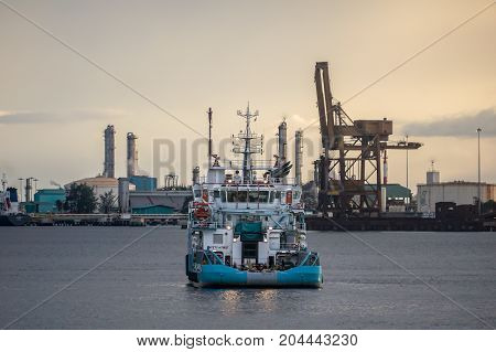 Labuan,Malaysia-Aug 30,2017:Offshore supply ship oil & gas Ship near offshore rig in sea of Sarawak,Malaysia from Labuan,Malaysia shore in Labuan island,Malaysia.