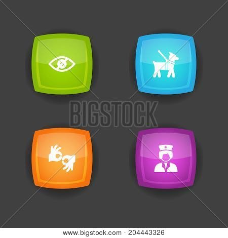 Collection Of Assistance, Pet, Gesture And Other Elements.  Set Of 4 Accessibility Icons Set.