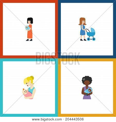 Flat Icon Mother Set Of Perambulator, Baby, Parent And Other Vector Objects