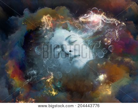 Will Universe Remember Me series. Arrangement of human face and fractal smoke nebula on the subject of human mind imagination memory and dreams