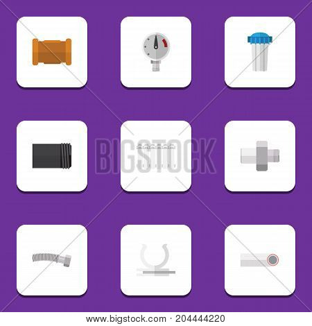 Flat Icon Sanitary Set Of Pipe, Connector, Drain And Other Vector Objects