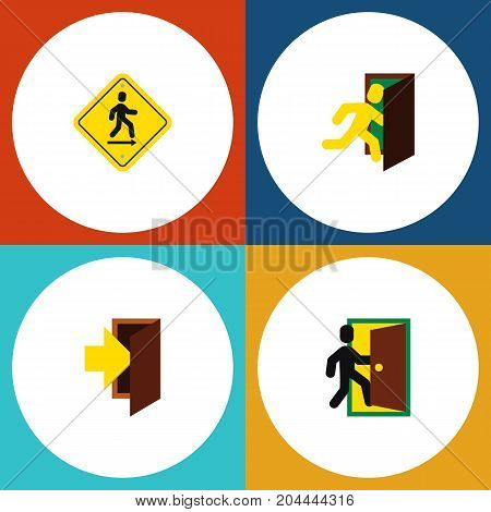Flat Icon Exit Set Of Entry, Evacuation, Open Door And Other Vector Objects