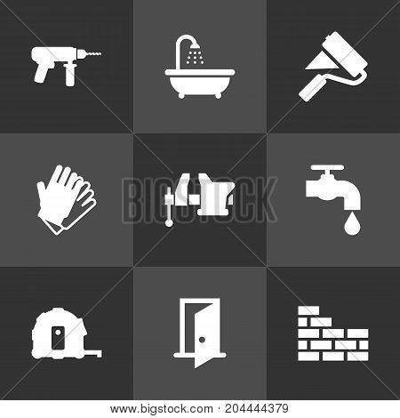Collection Of Electric Screwdriver, Faucet, Entrance And Other Elements.  Set Of 9 Work Icons Set.