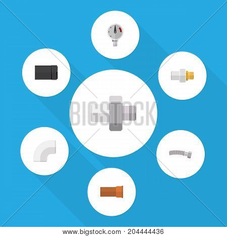 Flat Icon Plumbing Set Of Plastic, Pressure, Cast And Other Vector Objects
