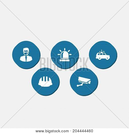Collection Of Surveillance, Hardhat, Alarm And Other Elements.  Set Of 5 Security Icons Set.