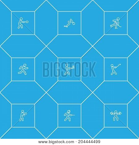Collection Of Box, Swimming, Swordplay And Other Elements.  Set Of 9 Athletic Outline Icons Set.
