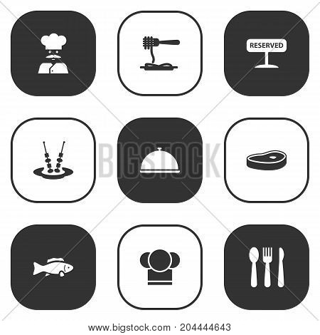 Collection Of Canape, Registered, Meat And Other Elements.  Set Of 9 Cafe Icons Set.