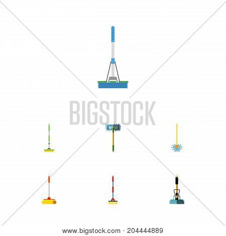 Flat Icon Mop Set Of Broom, Cleaner, Sweep And Other Vector Objects