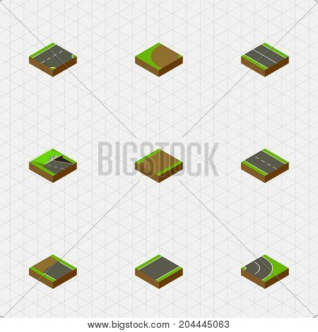 Isometric Way Set Of Underground, Flat, Asphalt And Other Vector Objects