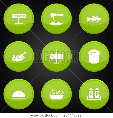 Collection Of Tuna, Condiments, Registered And Other Elements.  Set Of 9 Bar Icons Set.