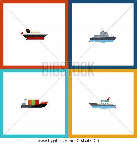 Flat Icon Boat Set Of Sailboat, Tanker, Cargo And Other Vector Objects