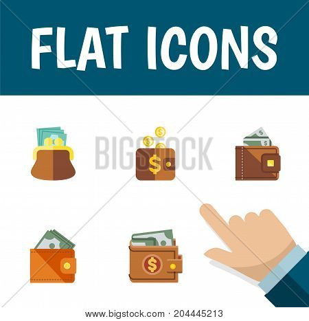 Flat Icon Wallet Set Of Wallet, Payment, Pouch And Other Vector Objects