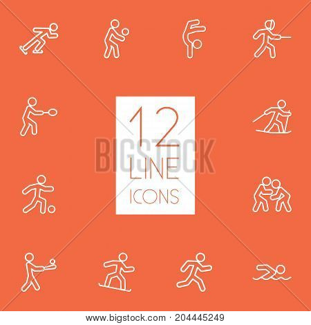 Collection Of Ski Running, Batting, Gymnastic And Other Elements.  Set Of 12 Sport Outline Icons Set.