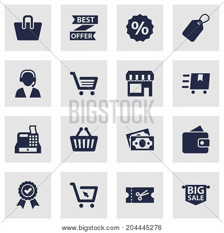 Collection Of Label, Dollar, Billfold And Other Elements.  Set Of 16 Magazine Icons Set.
