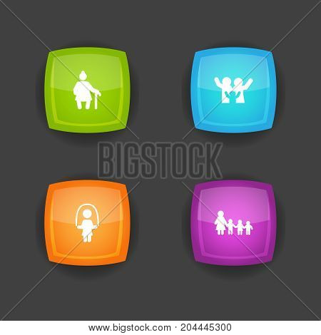 Collection Of Grandma , Nanny, Girl Elements.  Set Of 4 Relatives Icons Set.