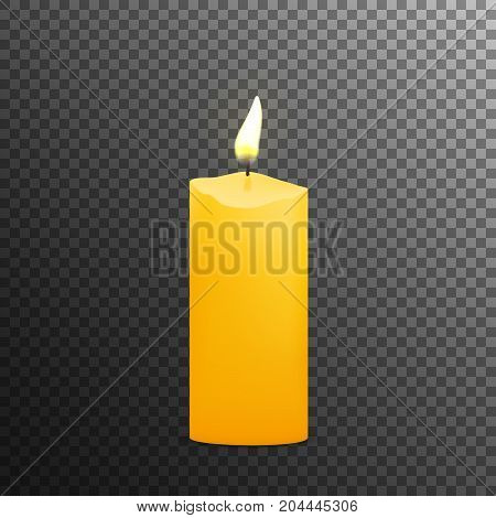 Burning candle with fire flame, isolated vector.