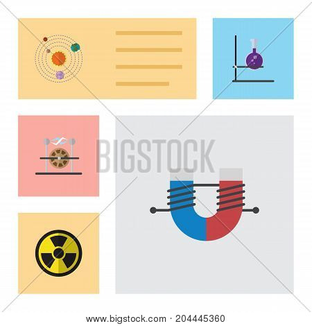 Flat Icon Knowledge Set Of Milky Way, Attractive Force, Irradiation And Other Vector Objects